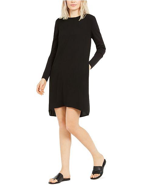 Eileen Fisher Long-Sleeve High-Low Silk Shift Dress