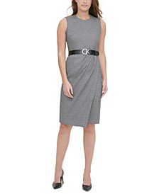 Printed Logo-Belt Sleeveless Sheath Dress