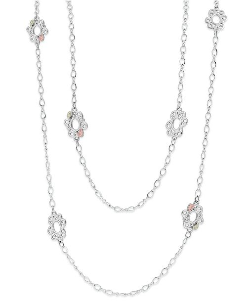 Macy's Long Necklace in Sterling Silver with 12K Rose and Green Gold