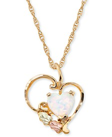 Opal Heart Pendant in 10K Yellow Gold with 12K Rose and Green Gold