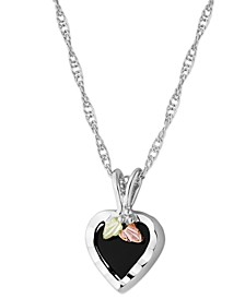 """Onyx Heart Pendant 18"""" Necklace in Sterling Silver with 12K Rose and Green Gold"""
