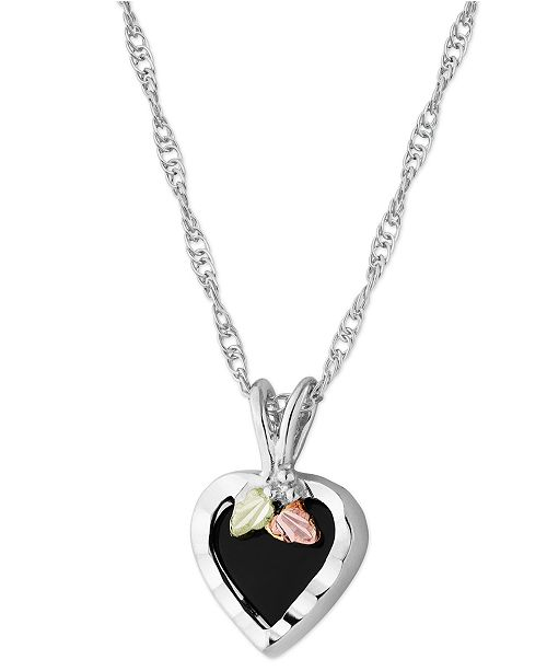 """Macy's Onyx Heart Pendant 18"""" Necklace in Sterling Silver with 12K Rose and Green Gold"""