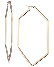 "Gold-Tone Large Hexagon Hoop Earrings, 2.15"""