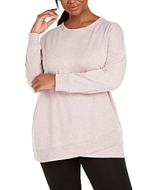 Plus Size Crossover-Hem Sweatshirt, Created For Macy's