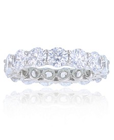 White Cubic Zirconias Eternity Band in Rhodium Plated Sterling Silver