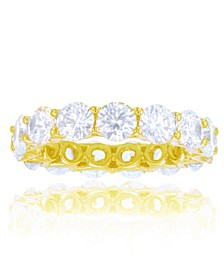White Cubic Zirconias Eternity Band in 14k Yellow Gold Plated Plated Sterling Silver