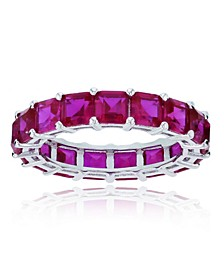 Red Cubic Zirconia Eternity Band in Rhodium Plated Sterling Silver