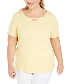Plus Size Studded Keyhole Top, Created for Macy's