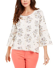 Petite Cotton Crochet-Trim Floral-Print Top, Created for Macy's