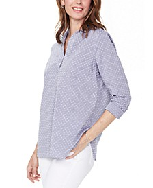 Swiss-Dot Cotton Popover Tunic