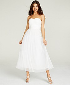 Ruched-Top Embellished-Waist Gown