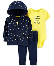 Baby Boys 3-Pc. Cotton Banana-Print Hoodie, Bodysuit & Pants Set