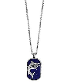 "EFFY® Men's Lapis Lazuli (16 1/2  ct. t.w.) Marlin Pendant 22"" Necklace in Sterling Silver"