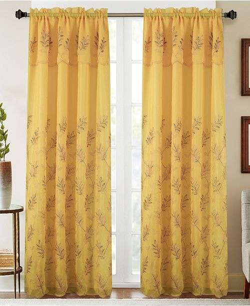"RT Designers Collection Burton Floral Embroidered 54"" x 90"" Curtain Panel With Attached Valance"