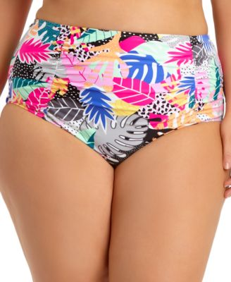 Trendy Plus Size Printed Ruched High-Waist Bikini Bottoms, Created For Macy's