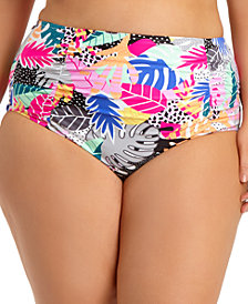 California Waves Trendy Plus Size Printed Ruched High-Waist Bikini Bottoms, Created for Macy's