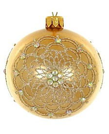 "Pair of Gold Metallic European Mouth Blown Hand Decorated 4"" Round Holiday Ornaments"