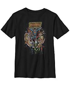 DC Comics Little and Big Boys Retro Justice League of America Short Sleeve T-Shirt