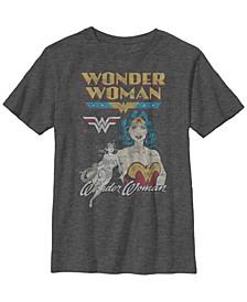 DC Comics Little and Big Boys Retro Wonder Woman Short Sleeve T-Shirt
