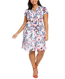 Plus Size Floral Pintuck Chiffon Dress