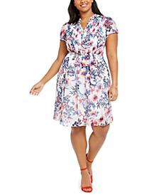 Plus Size Floral Pintuck Chiffon Dress