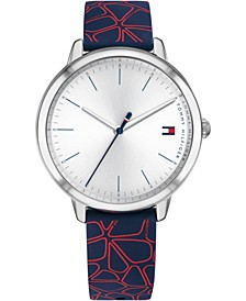 Women's Navy & Red Floral Silicone Strap Watch 35mm, Created for Macy's