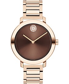 Women's Swiss BOLD Carnation Gold-Tone Stainless Steel Bracelet Watch 36mm, Created for Macy's