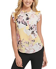 Sleeveless Floral Print Ruffle Blouse