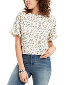 Juniors' Printed Ruffle-Trimmed Thermal Top