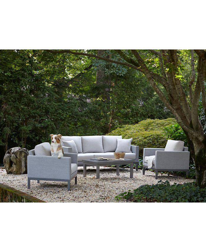 "Furniture - Carleese Outdoor 4-Pc. Seating Set (80"" Sofa, 2 Club Chairs, & 44"" x 24"" Coffee Table) with Sunbrella® Cushions"