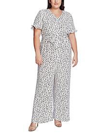 Plus Size Printed V-Neck Jumpsuit