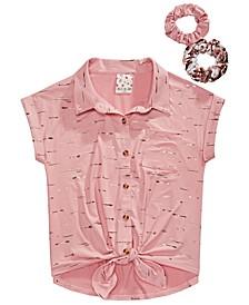 Big Girls 3-Pc. Camp Shirt & Scrunchies Set