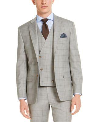 Men's Classic-Fit UltraFlex Stretch Gray Windowpane Suit Jacket