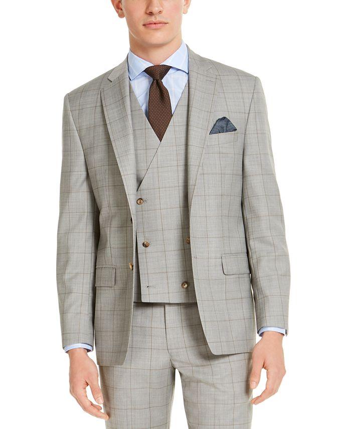 Lauren Ralph Lauren - Men's Classic-Fit UltraFlex Stretch Gray Windowpane Suit Jacket