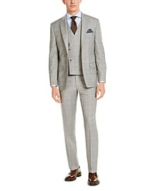 Men's Classic-Fit UltraFlex Stretch Gray Windowpane Suit Separates