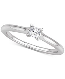 Certified Diamond Princess Solitaire Engagement Ring (1/4 ct. t.w.) in 14k White Gold