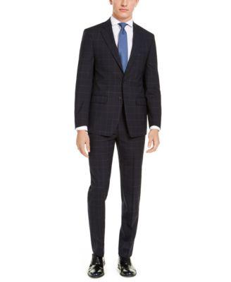 Men's X-Fit Extra-Slim Fit Infinite Stretch Navy Blue Windowpane Suit Jacket