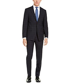 Men's X-Fit Extra-Slim Fit Infinite Stretch Navy Blue Windowpane Suit Separates