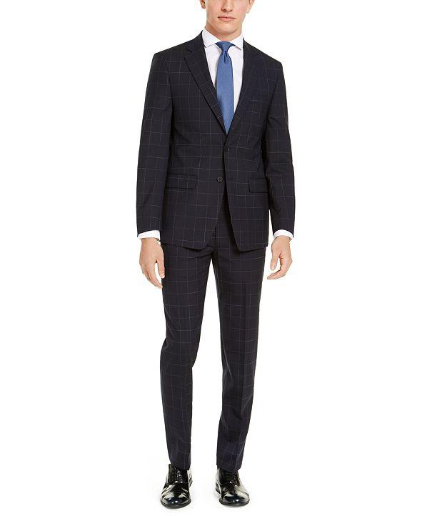 Calvin Klein Men's X-Fit Extra-Slim Fit Infinite Stretch Navy Blue Windowpane Suit Separates
