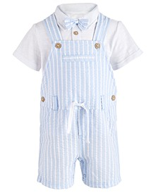 Baby Boys 2-Pc. Bowtie Shirt & Seersucker Shortall Set, Created for Macy's