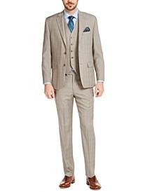 Men's Classic-Fit UltraFlex Stretch Tan Plaid Suit Separates