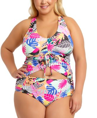 Trendy Plus Size Tropic Mix Printed Adjustable Cinch Front Tankini Top, Created for Macy's
