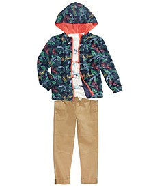 Little Boys Reversible Water-Resistant Windbreaker, Dino Stripe T-Shirt & Stretch Twill Moto Chino Pants, Created For Macy's