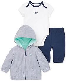 Baby Boys 3-Pc. Cotton Hooded Jacket, Puppy Bodysuit & Pants Set