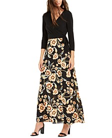 INC Petite Printed-Skirt Tie-Waist Dress, Created for Macy's