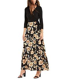 INC Petite Printed-Skirt Tie-Waist Dress, Created for Macy's