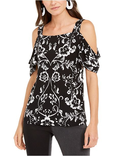 INC International Concepts INC Petite Printed Cold-Shoulder Top, Created For Macy's