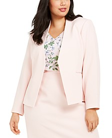 Plus Size Textured Cropped Asymmetrical Jacket