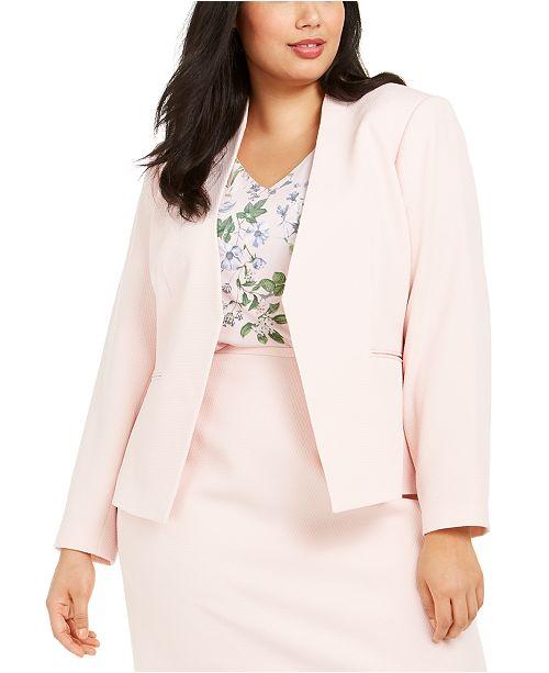 Calvin Klein Plus Size Textured Cropped Asymmetrical Jacket