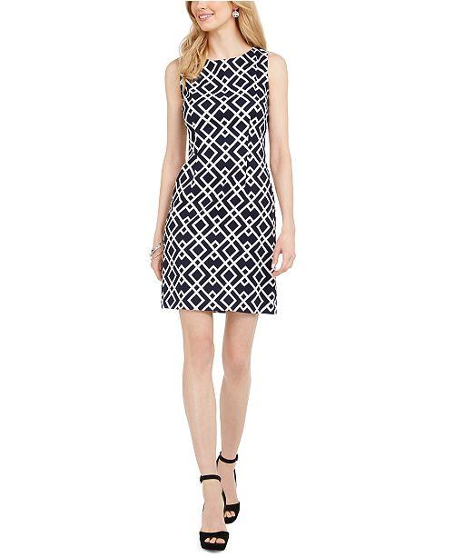 Connected Petite Diamond-Print Sheath Dress
